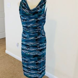 Axcess blue dress with ruching, size small